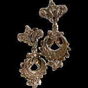 Antique Victorian Brass Screw Back Dangling Earrings
