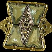 Art Deco Aquamarine and Diamond 14 k White Gold Ring
