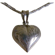Vintage Sterling Silver Necklace with Etched Puffy Heart Pendant