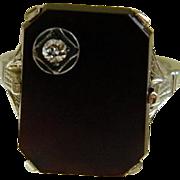 Art Deco Black Onyx with Diamond 18k White Gold Ring