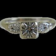 Vintage 14k White Gold Diamond Ring, 1940's