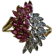 Vintage 10k Yellow Gold Ruby and Diamond Cluster Ring Size 10 1/4
