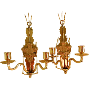 A Vintage Pair of Fleur de Lis Candle Wall Sconces France