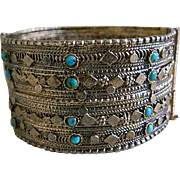 Vintage Unique Brass Cuff Bracelet with Turquoise Stone Beads