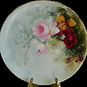 Victorian Porcelain  Artist and Teacher Elizabeth Stoner Signed Haviland Limoges Charger 1894 - 1900