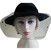 Vintage Madcaps New York Black Wool Felt Hat with Veil 1960's