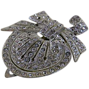 Vintage Dress Clip with Clear Rhinestones