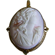 Carved Conch Shell Cameo in 10 K Gold Setting