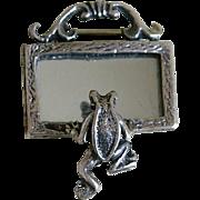Vintage Sterling Silver Frog Looking into a Mirror Brooch Mexico
