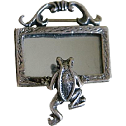 Vintage Sterling Silver Frog Looking into a Mirror Brooch Mexico