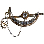 Antique Victorian Crescent Moon and Stars Brooch 1890's