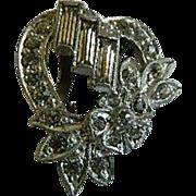 Vintage Heart Shaped Clear Rhinestone Dress or Fur Clip