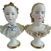 California Dresden Boy and Girl Bust by Avis Wright, 1950's