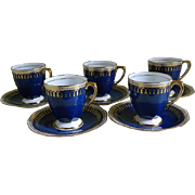 Vintage Spode Copeland Demitasse Cups and Saucers, Pattern Ryde Blue and White with Gold Tassels, set of 5