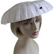 Vintage White Dotted Swiss Hat, Field Schlick St. Paul, Minnesota