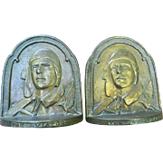 Charles Lindbergh, The Aviator, Metal Bookends, 1929