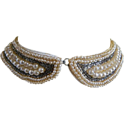 1950's Faux Pearl and Brown Beaded Collar