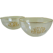 1920's Etched Gold Monogrammed Bowls, Set of 2