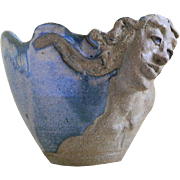 Vintage Pottery Art Bowl, Woman's Face with Flowing Hair