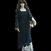 1920's Flapper Black Beaded  Dress