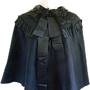 Victorian Black Cape with Lace Collar and Satin Ribbon