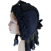 Victorian Knitted or Woven Black Bonnet