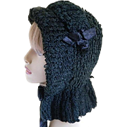 Victorian Black Knitted or Woven Bonnet
