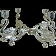 Vintage Silver Plated Swan Candelabra