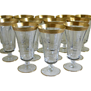 Tiffin Gold Encrusted Parfait, Tea or Lemonade Stemware, Set of 12