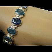 Vintage Natural Non-Transparent Faceted Oval Sapphire Sterling Silver Bracelet