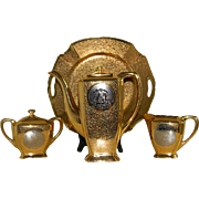 Vintage 24 Carat Gold Encrusted and Platinum Arzberg, Bavaria Coffee Serving Set, 1928 until 1946