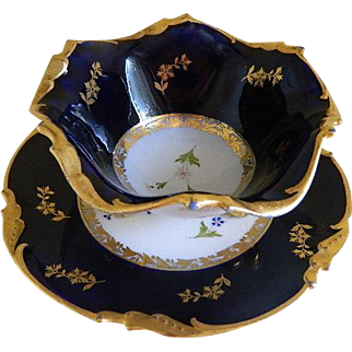 Jean Pouyat Limoges France Condiment Bowl and Plate Made for Alex Anderson, 1900 until 1932