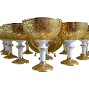 C. Ahrenfeldt Limoges, France, Gold Encrusted Sherbet Cups with Saucers, 1894 until 1930