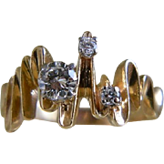 14 Ct Yellow Gold  Contemporary Style Custom set Diamonds, 1/2 CTW Ring, Mid 1980's until Mid 1990's, with Recent Appraisal