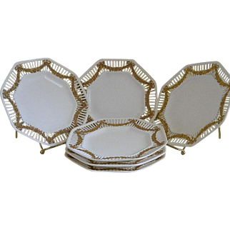 Vintage German Octagonal Plates with Lattice Rims Accented with Gold Swags with bows, Set of 6