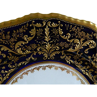 Antique Rare Royal Doulton, Herbert Betteley, Intricate  Gold Encrusted Raised Pattern against Cobalt Blue Plates. Set of 4