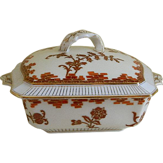 Antique CFH GDM Haviland Limoges Square Serving Bowl with Lid, 1862 until 1882