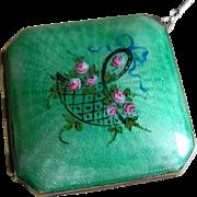 Art Deco Green Enamel Finger Hold Dance Purse, Compact
