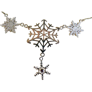 Vintage Sterling Silver Snow Flake Necklace