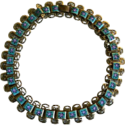 Vintage Choker Necklace with Painted Enamel Design, 1970's