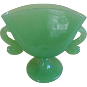 Vintage 1920's Fenton Glass Jadeite Fan Vase with Fish Handles