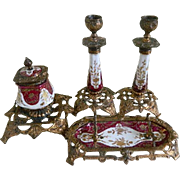 Antique Victorian French Limoges Porcelain and Gold Gilt Metal Ink Well, Candle Stick Holders and Pen Tray