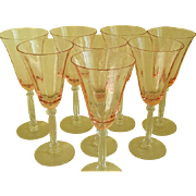 Vintage Set of 8 Pink and Clear Wine Glasses