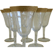 1920's Tiffin Gold Encrusted Wine Glasses, Set of Six