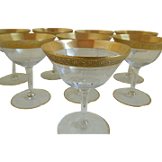 1920's Tiffin Gold Encrusted Champagne Glasses, set of 8