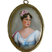 Antique French 19th Century Enamel Portrait of Marie Louise of Austria, Empress of France, Framed Porcelain Plaque