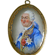 Antique 19th Century French Enamel Portrait of Louis XVI Framed Porcelain  Plaque