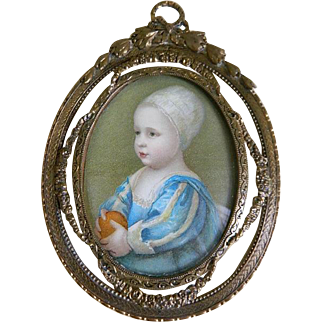 Antique French Frame with Print of Child under Glass
