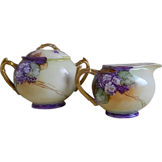 Rare Find, Willets Belleek Hand Painted Creamer and Sugar, 1879 until 1912