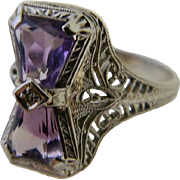 Art Deco, Ostby and Barton with Maltese Cross 14 K White Gold Amethyst with Small Center Diamond Ring